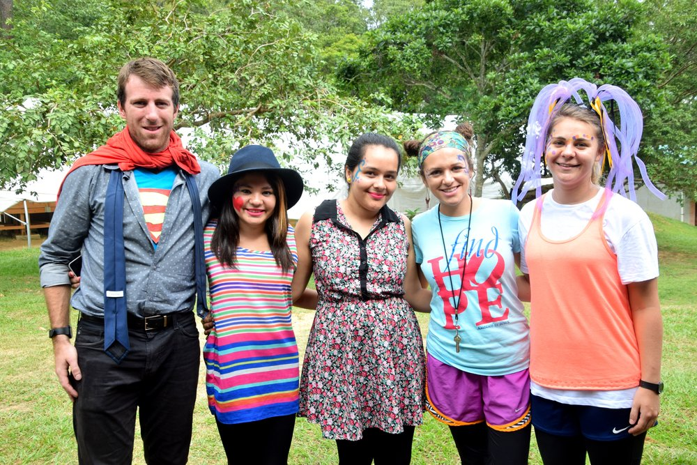 Mr. Tim, pictured on the left, with several of the Honduran and American teachers that work at the Amigos de Jesús Bilingual School dressed up for Día del Niño (Children's Day) this year.