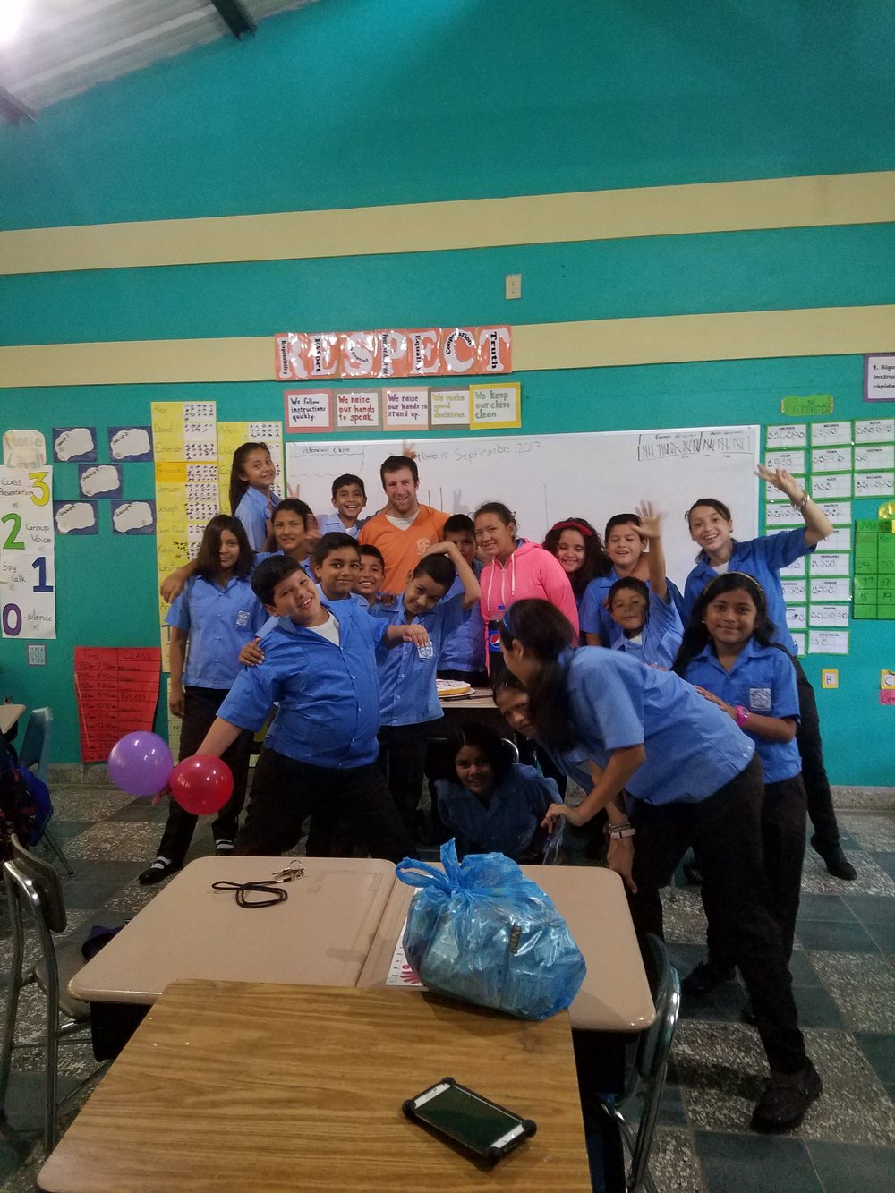 Mr. Tim with his 5th grade class last year.
