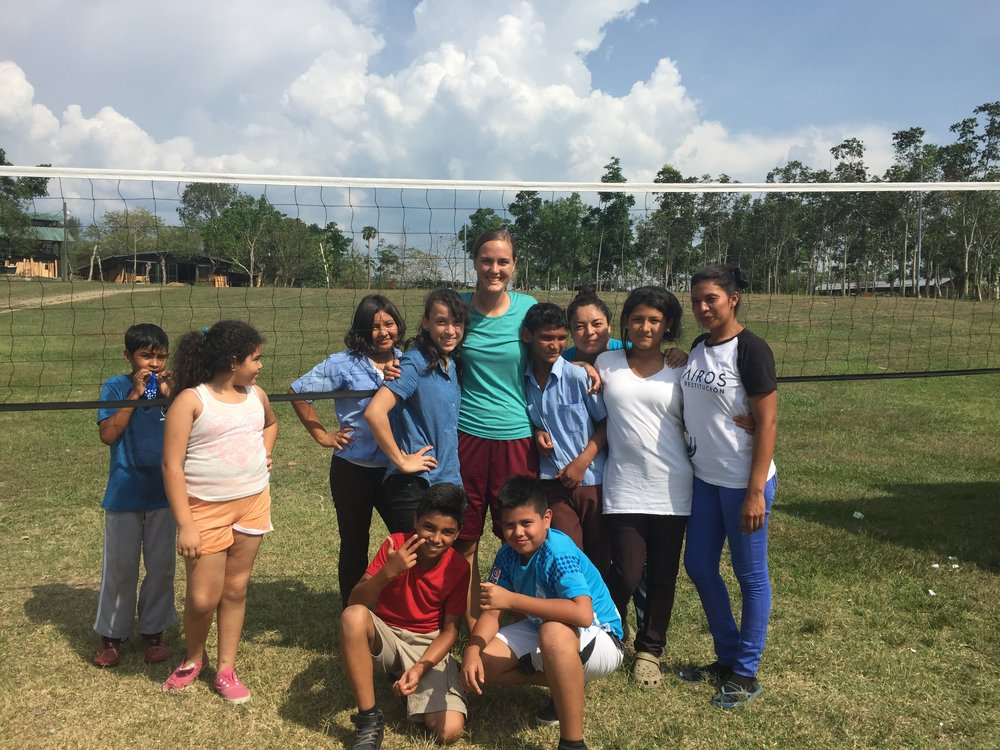 Miss Savanah and students in her volleyball class in our after school activities program.