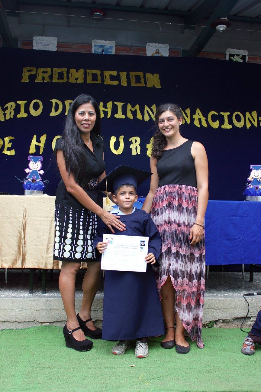 Fabian with his two teachers at his graduation from 'Prepa' (Kindergarten) in 2016.