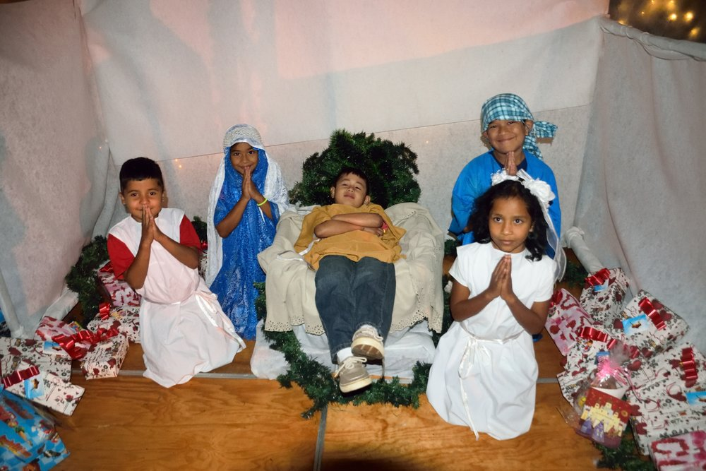 The Nativity Scene acted out by several of our children during Three King's Day this January.