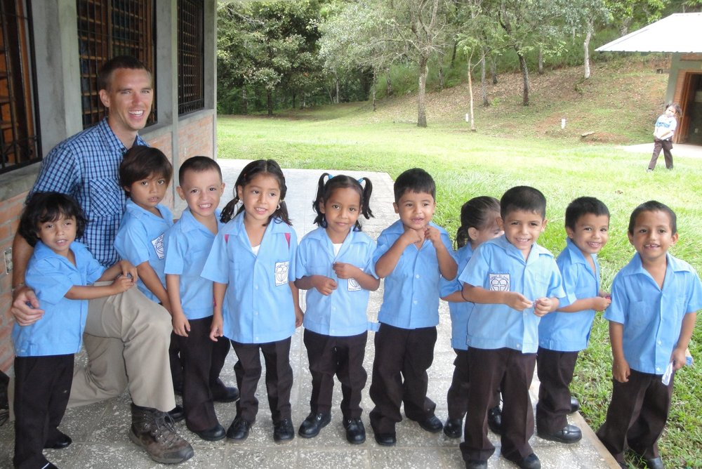 Fabian, pictured third from the right, with his 'Kinder' (preschool) classmates and teacher in 2015.