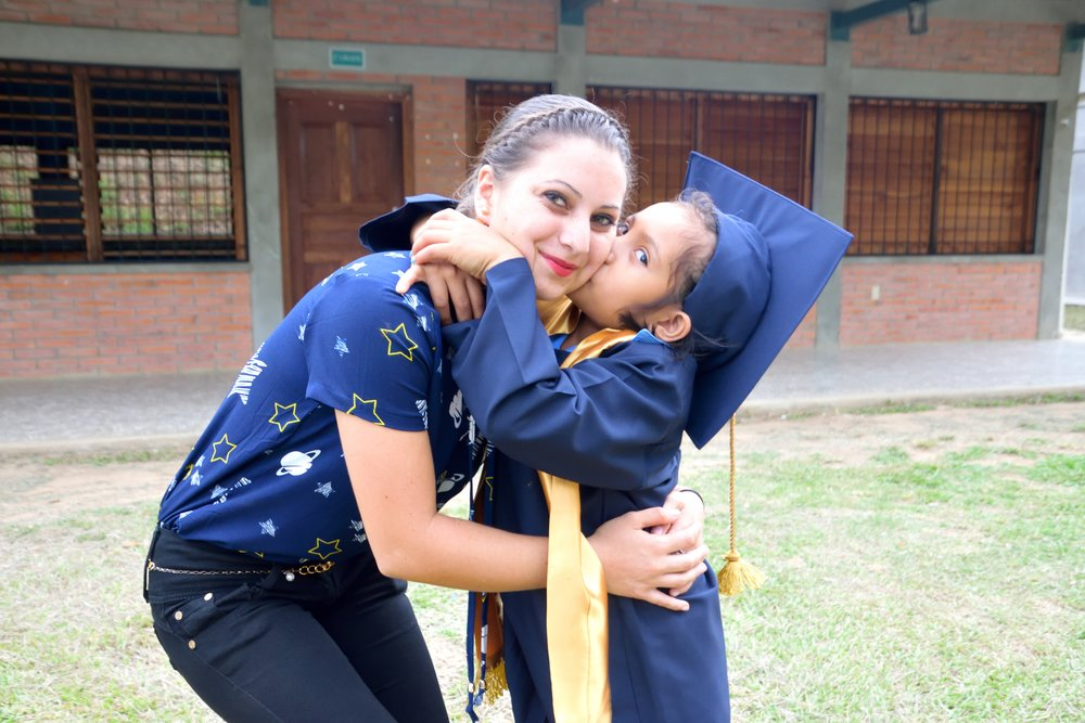 Sara with one of the 'madrinas' she is close to after her graduation from 'Prepa' (Kindergarten).