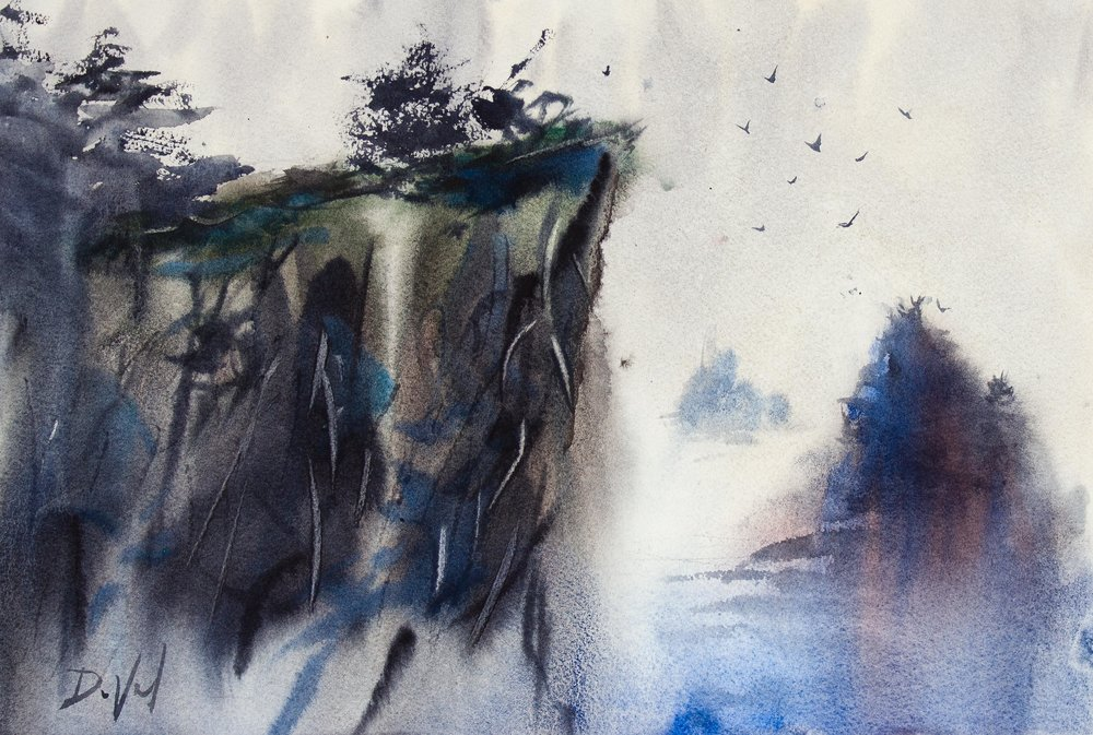 Craggy Cliffs of Howth, watercolor on paper