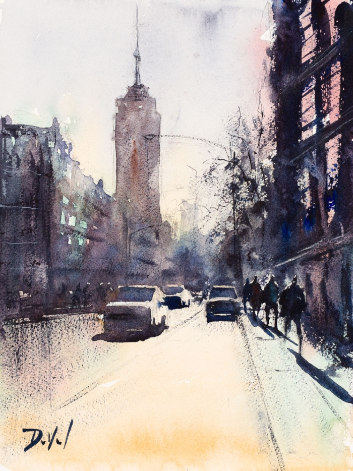 NYC, going uptown, watercolor on Cézanne paper, 9.5 x 12.5 in.