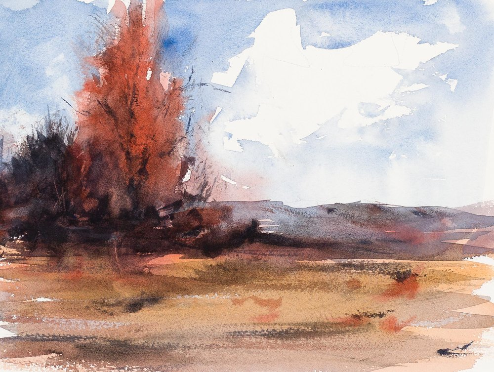 Study after H.B. Brabazon, watercolor on Leonardo paper, 9.5 x 12.5 in.