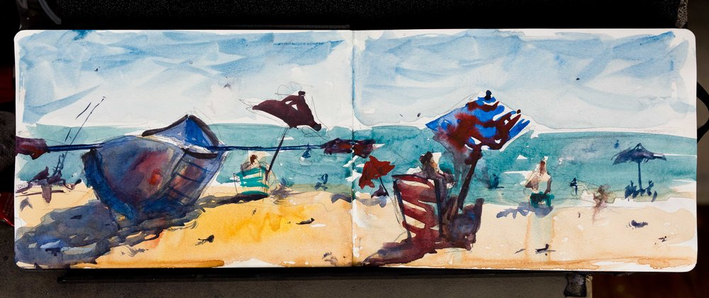 Big Boat on the Beach, watercolor in Hahnemühle sketchbook