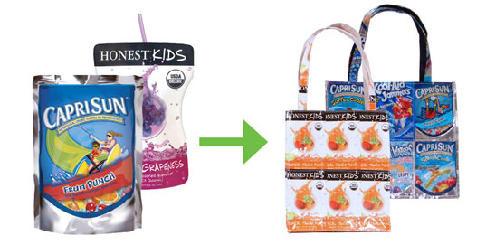 Capri Sun and Honest Kids pouches upcycled into tote bags