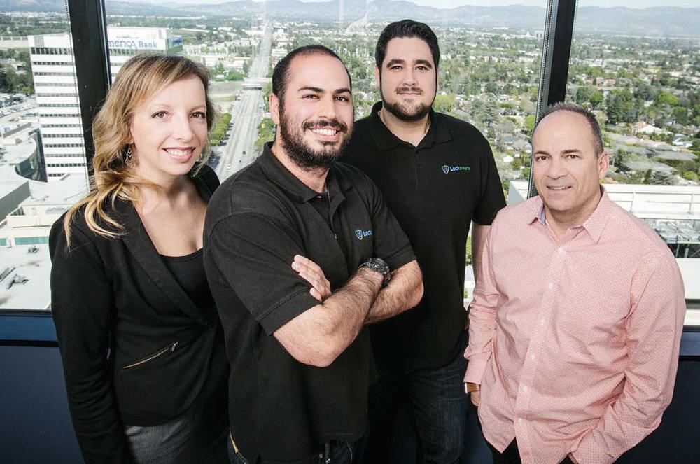 "LockAware Founders Kevin and Marty, with Scott Alderton (LockAware's attorney and ""fake locksmith"" survivor) and Heidi Hubbeling, Director of Marketing for Stubbs Alderton & Markiles, LLP"