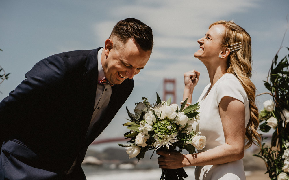 Baker Beach San Francisco Elopement Golden gate bridge floral