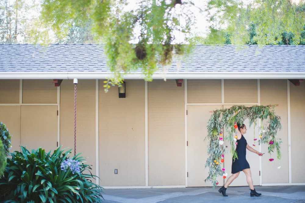hanging backdrop floral wedding ceremony california florist