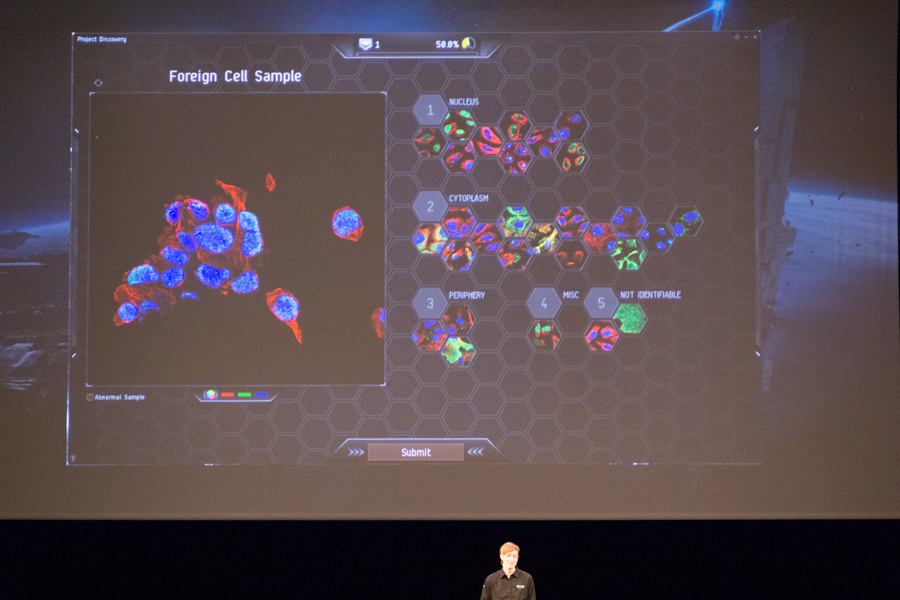 In EVE, we do a science to help researchers map human proteins.