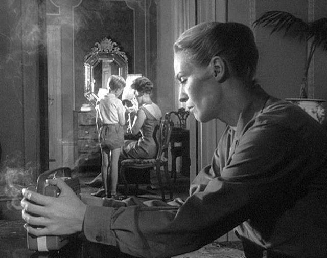 The Silence (Swedish: Tystnaden) - 1963.⠀ ⠀ Ingmar Bergman⠀ ⠀ #womeninfilm #ingridthulin #bergman #filmlook #celluloid #perspective