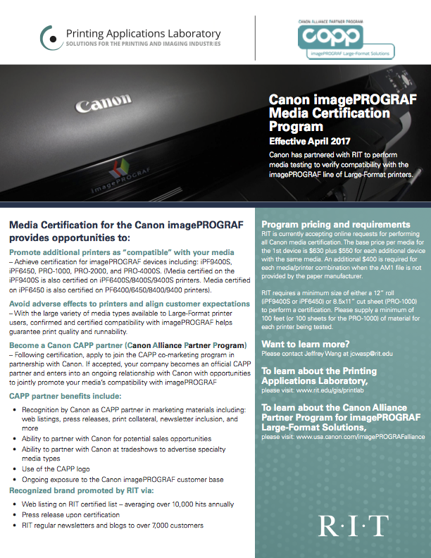 Canon imagePROGRAF Media Certi cation Program