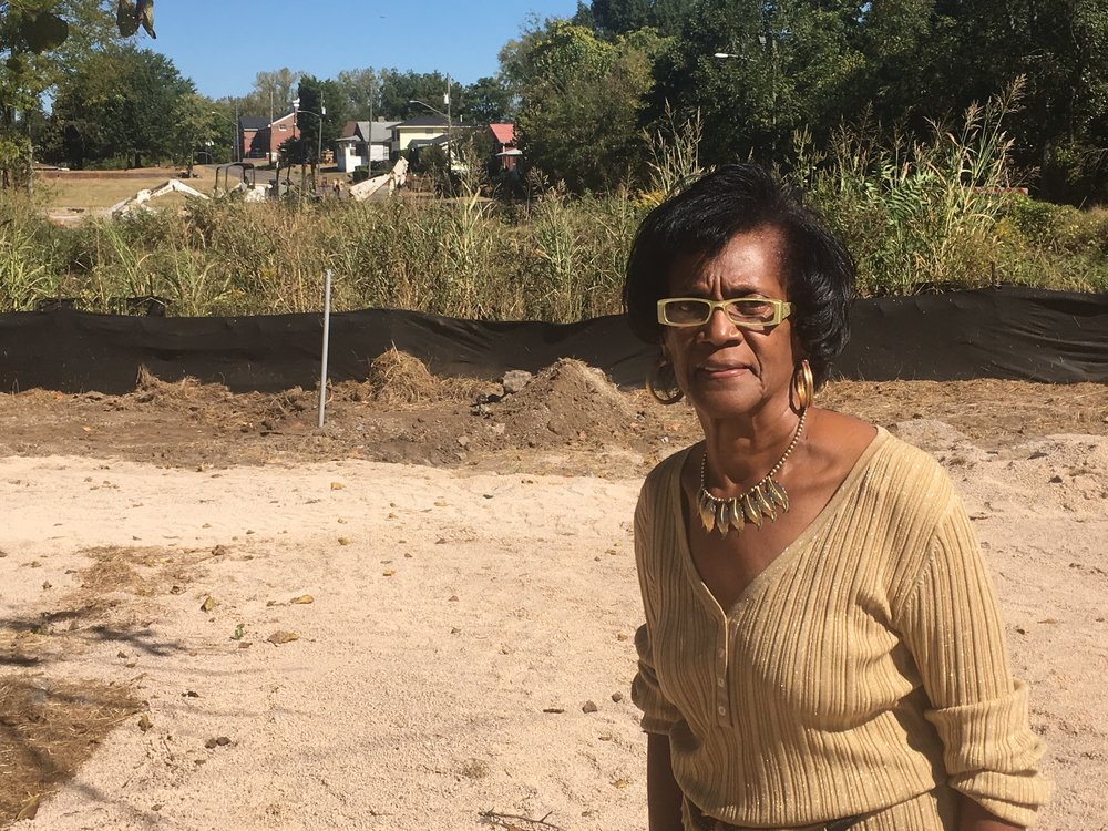 Doris Smith, a lifelong Ensley resident, stands near an area along Village Creek that is being redeveloped.