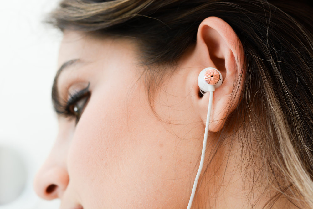 Here's how the earbuds look close up, comfy in the ear.