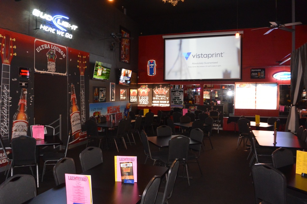 The Restaurant Seats 60, 4 Plasma TV's and a 10 Foot Projection Screen