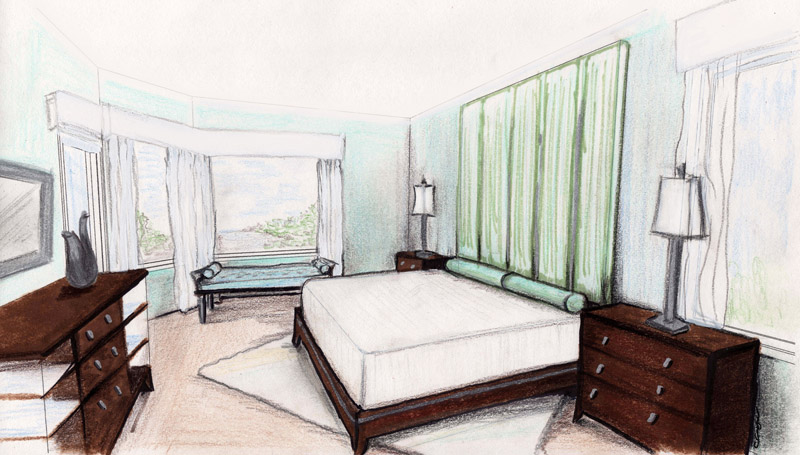 Hand Rendering, Master Bedroom