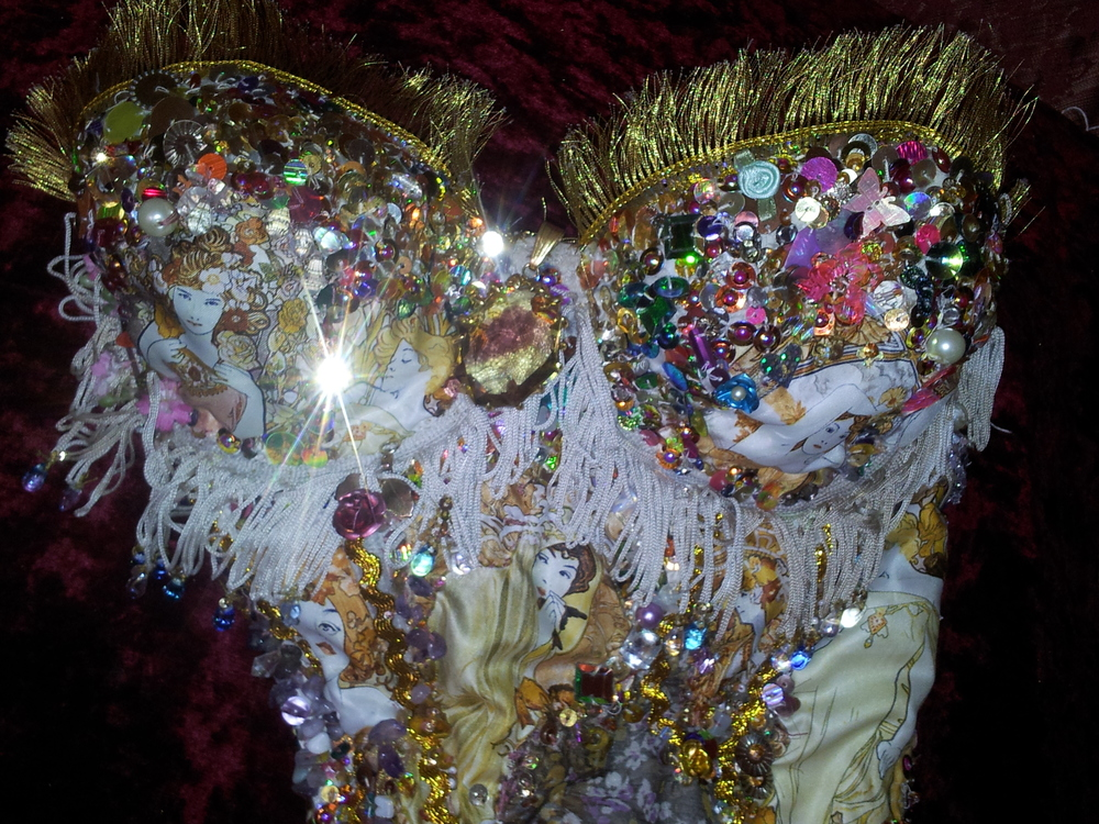 'Buttercup' contemporary Rococo wearable textile art close up by Holly Jade O'Leary