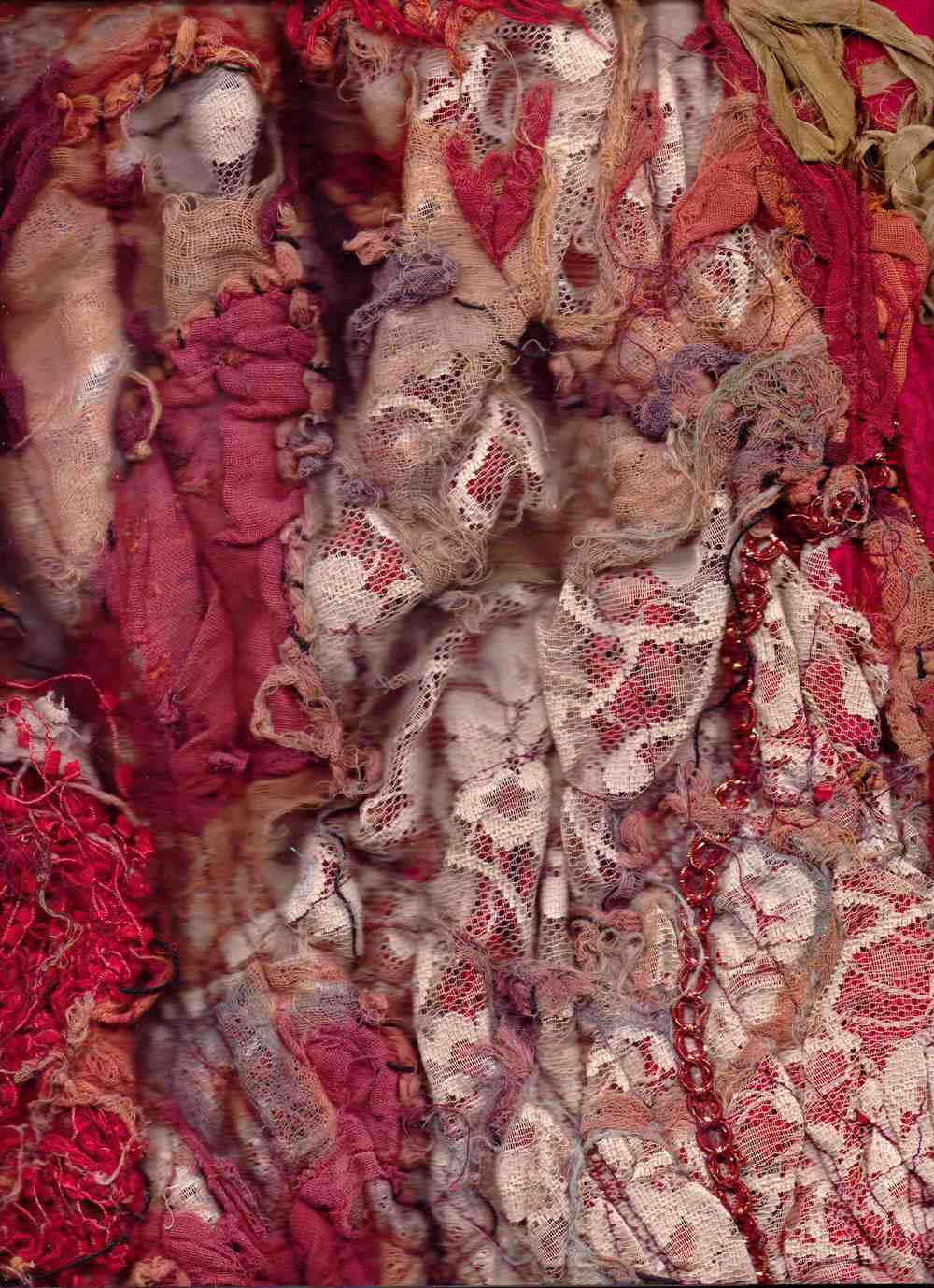 'Red Rose' dress close up, formed of torn antique lace found in a meadow in Somerset.