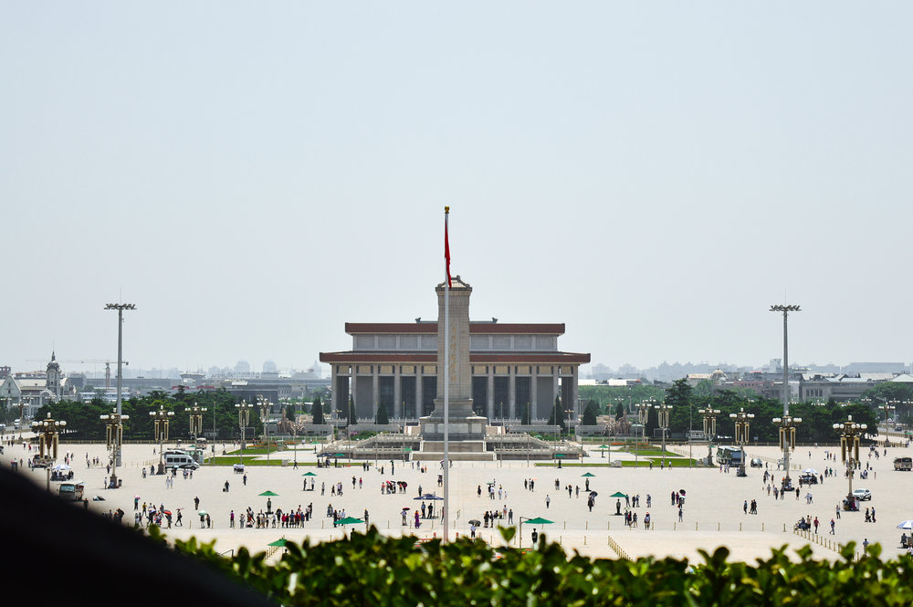 Tiananmen Square - the Monument to the People's Heroes and the Mao Zedong Mausoleum behind it.