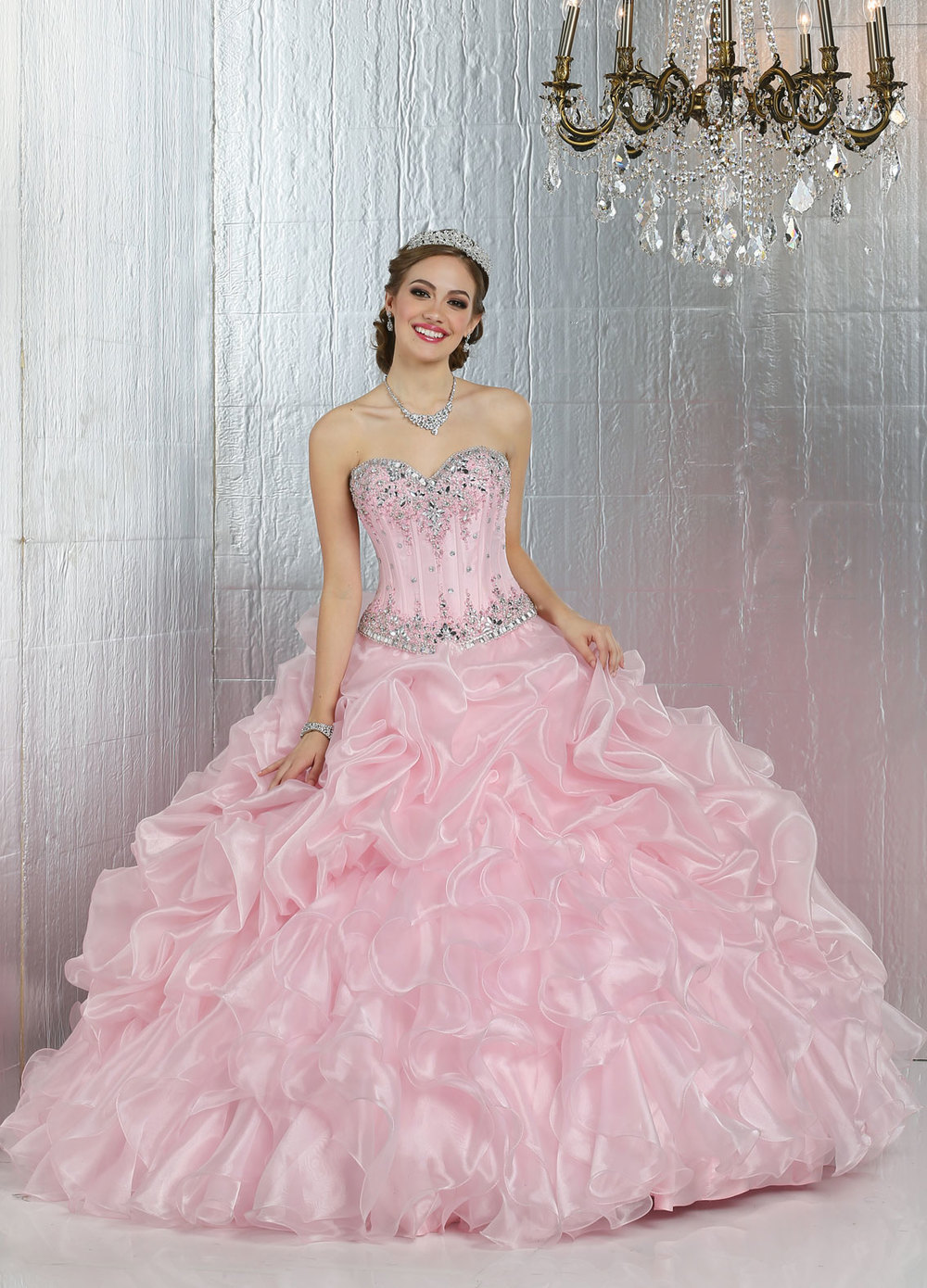 Gown and Picture by Q by DaVinci | Style 80279 | Color Pink | Two-piece Ballgown