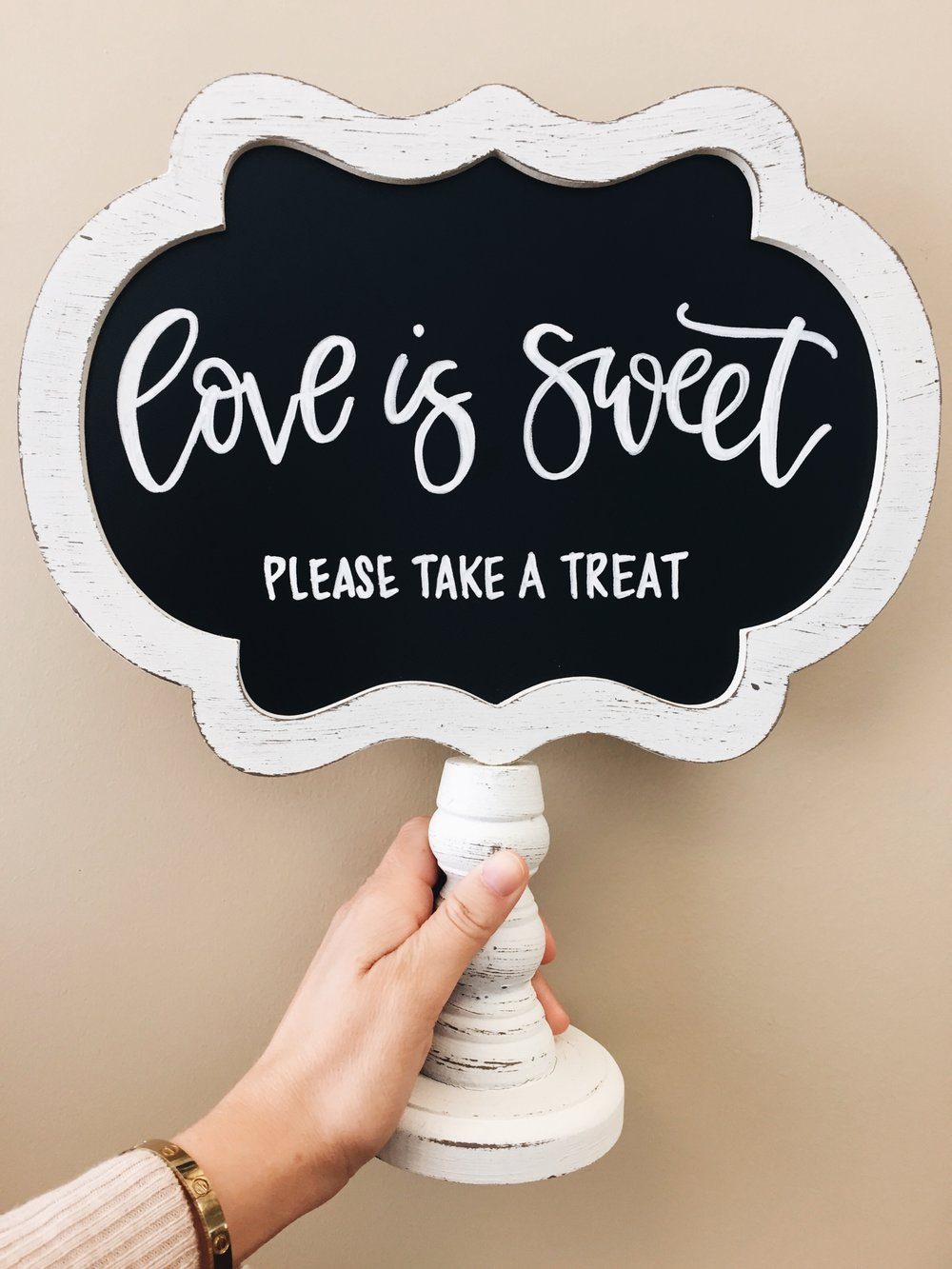 Small Chalkboard Sign - $15 - This chalkboard table sign can be customized to read anything you'd need it to say. With endless quote options comes endless possibilities.