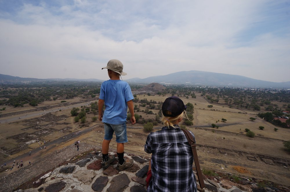 Enjoying the view from the top of the Pyramid of the Sun at Teotihuacan.