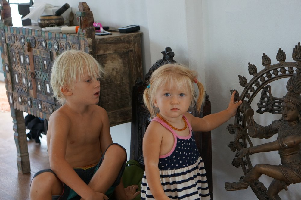 Arjuna and Lux learning stories about Indian deities in the yoga room at Casa Om.