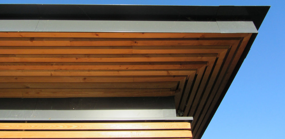 Horizontal Siberian larch cladding and powder coated metal eaves flashings create a crisp edge to the building