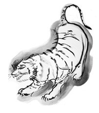 - White Tiger West, fall, wind, metal, righteousness.  Guards Buddha's teachings and mankind.