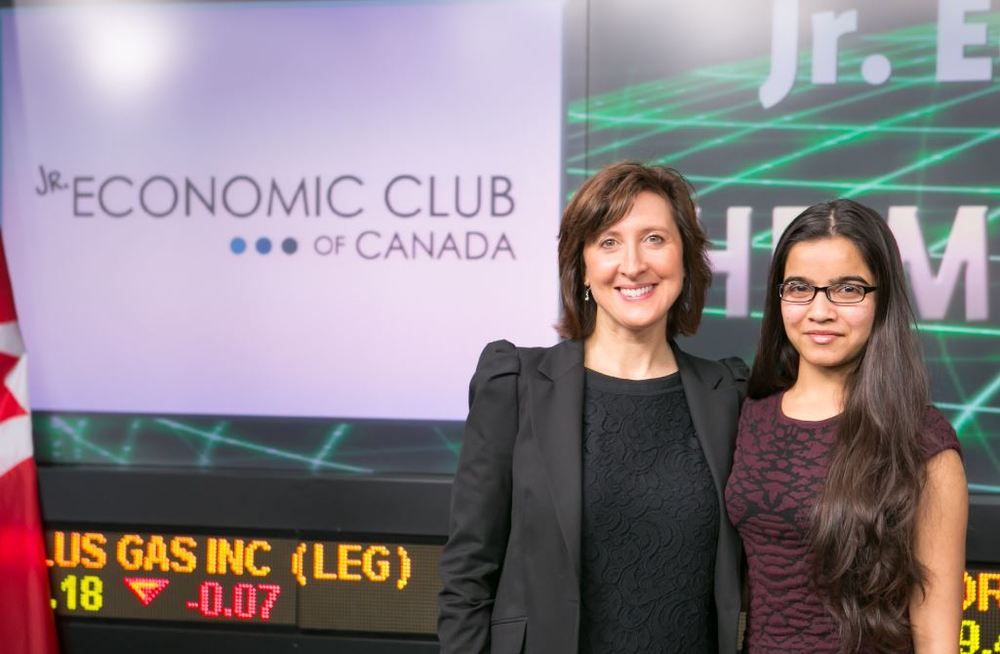 Michelle Michalak, Head of Financial Literacy at Visa Canada with Disha Patel, Academic Challenge Winner