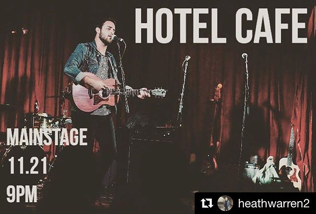 TUE 11/21 @ Hotel Cafe Playing a show with this fine gentleman @ 9p sharp @heathwarren2 • • #Repost @heathwarren2 (@get_repost) ・・・ HOLLYWOOD, CA | 11.21 | 9pm • • • Heading back to L.A. next week for a show with my great friend @mikebaronemusic at @thehotelcafe. We hit right at 9. Hope to see y'all there!