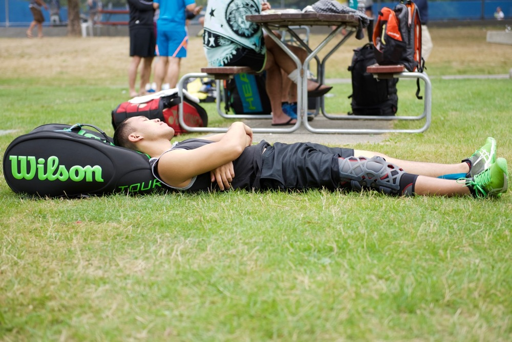 Bryan relaxing after a hard won match.jpg