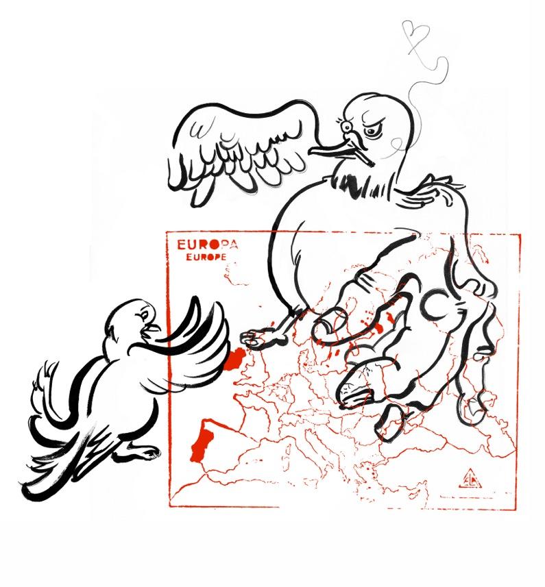 #3 Kati Heck,Der Sähmann - 2016 -38,5 x 29,5 CM Op het eerste gezicht is haar werk kleurrijk, druk en vrolijk, maar je hoeft niet lang aan het oppervlak te krabben om de zwaarte en melancholie eronder te voelen. Kati Heck schrijft zich in de traditie van de schilderkunst in, maar neigt af en toe naar ruwe tekeningen; lichtheid en sérieux gaan hand in hand. Zo ook in de editie die ze voor Oogst maakte: twee robuust op papier gezette duiven die door de context zeer geladen worden.