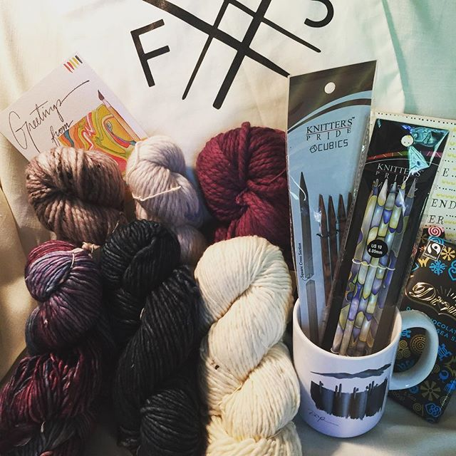 LOVE my #fibreshare package from @sheen_a_bean! Excited to use yarn from @madelinetosh and @malabrigoyarn, gorgeous knitting needles, markers, and more! You're the best Sheena!! Thank you! 😘 #knitting #knittingfriends