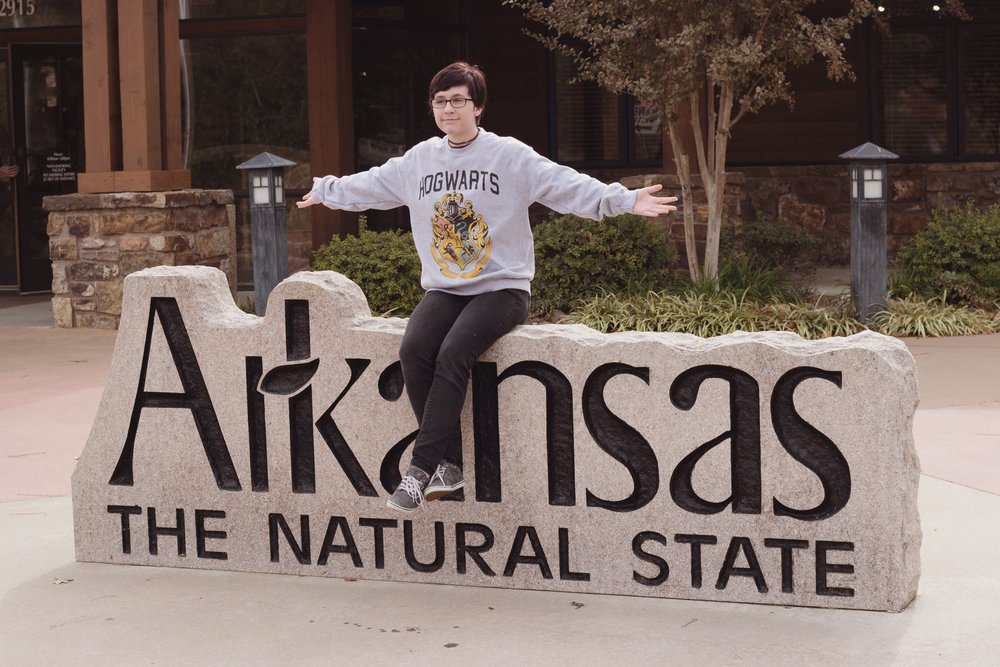 The rest area that we stopped at. My dad wanted to get a picture of me with the Arkansas sign.