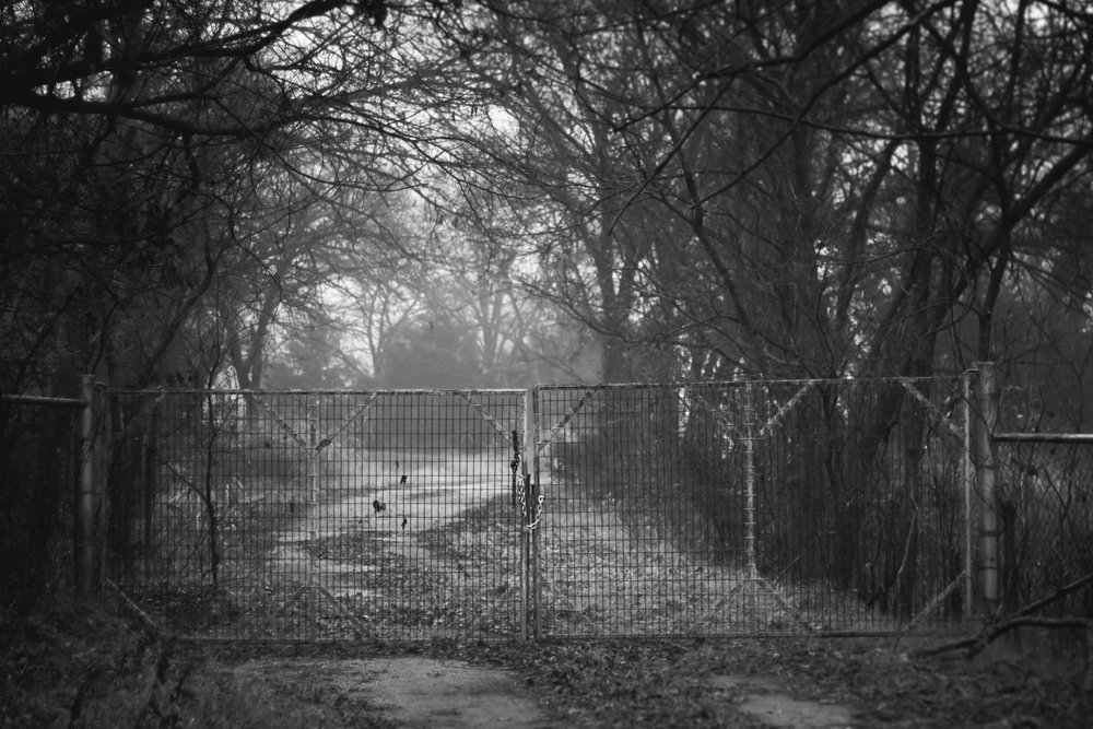 The gate to the closed off driveway.