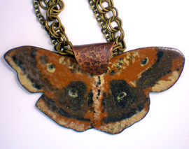 The Moth – Pendant   Copper enamel on brass chains   2″x3.75″ on 24″ chain