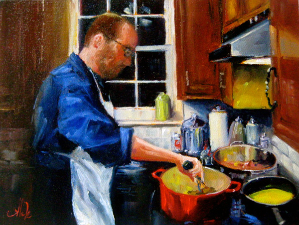 Evening Cook 9″x12″, oil on canvas