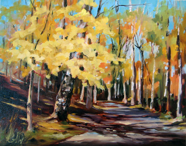 Autumn Road 8″x10″, oil on matboard