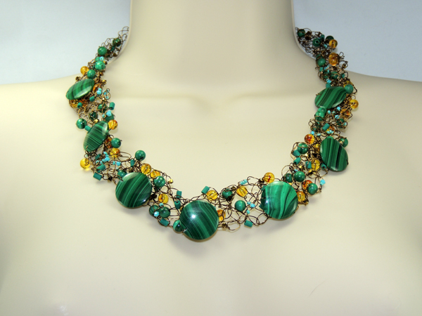 Crocheted Malachite Necklace