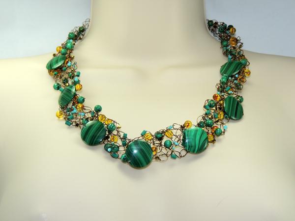 Crocheted Malachite Necklace