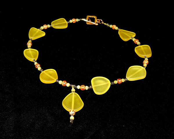 Lemon Yellow Cultured Sea Glass Necklace