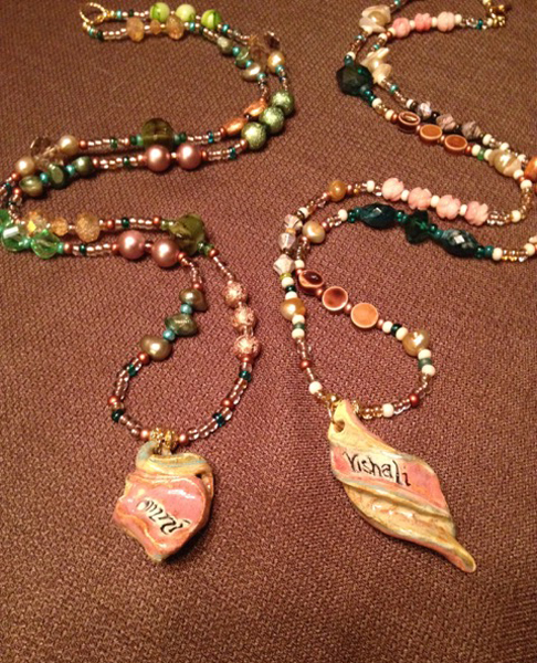 Ceramic Pendant Necklaces   20″ and 30″ with gemstone, crystal and glad beads