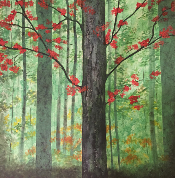 Spring in Forest 35″x35″, mixed media on canvas