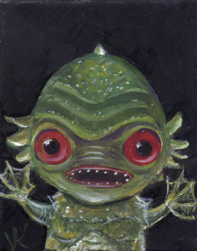 Creature from the Wibble Lagoon   2.5″x2″, oil on canvas