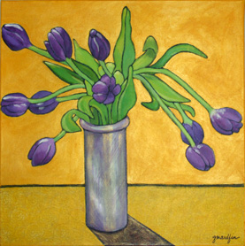 Ten Tulips 24″x24″, acrylic on canvas