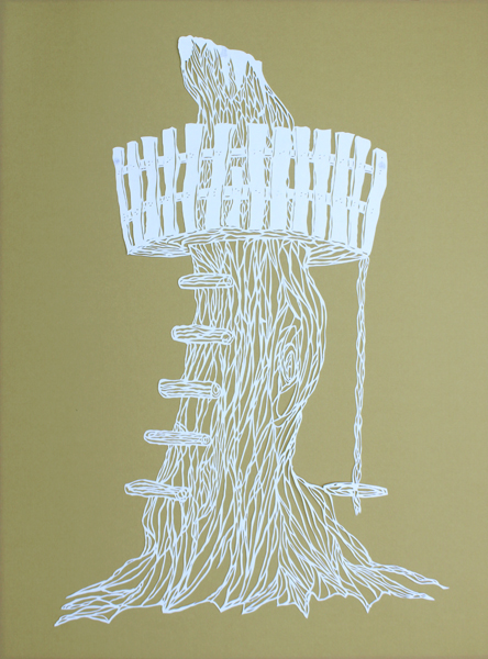 Treehouse 18″x24″, hand cut single sheet white paper mounted on gold