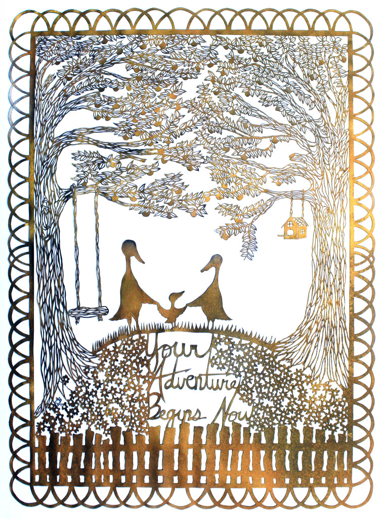 Your Adventure Begins Now   18″x24″, hand cut single sheet gold paper mounted on white